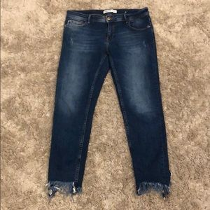 Zara Basic Z1975 Denim Chewed Hem Skinny Jeans